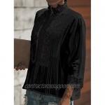 CANIKAT Women's Fashion Fall 3/4 Sleeve Button Down Tops Mock Neck Lace Hem Basic Tee Shirts Flowy Blouses Black S