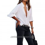 Ezcosplay Women's OL Long Sleeve Casual Shirt Tops Button Down Blouse Slim Fit