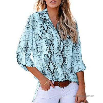 HOTAPEI Womens Summer 2020 Fashion Tops and Blouses for Work Casual V Neck Animal Print 3/4 Cuffed Sleeve Button Down Collar Front Pockets Shirts Blouses Blue Medium