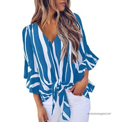 Imysty Womens Floral V Neck Bell Sleeve Blouses Tie Knot Front Casual Summer Chiffon Tops Shirts