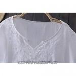 Mordenmiss Women's Embroidered Blouse Tunic V-Neck Linen Tops Short Sleeve Hi-Low Hem Shirt