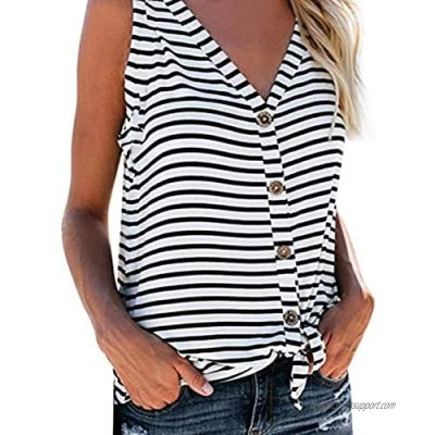 NUOREEL Womens Striped Button Down V Neck Tops Ruffle Sleeveless Tie Knot Blouses and Tops