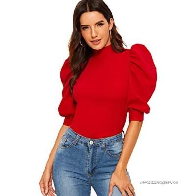 Romwe Women's Puff Half Sleeve Mock Neck Keyhole Back Slim Fit Blouse Tops