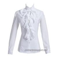 Taiduosheng Women Shirts Lace Ruffle Neck Stand-Up Collar Victoria Ruffle Bow BlouseLong Sleeve OL Shirt Tops US S-US 2XL