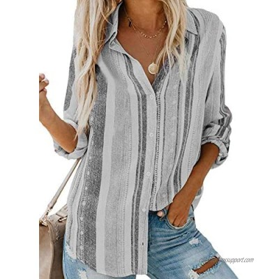 Womens Button Down Shirts Bohemian Striped Long Sleeve Blouse Casual Roll-up Tops Pockets