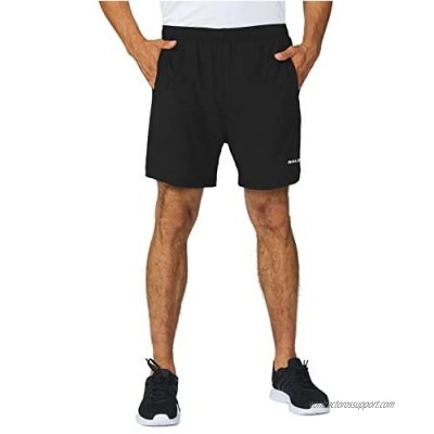 BALEAF Men's 5 Inches Unlined Running Athletic Shorts Quick Dry Gym Activewear Zipper Pocketed Shorts