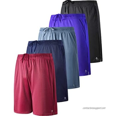 Liberty Pro 5 Pack Men's 9 Inch Athletic Mesh Performance Shorts with Pockets