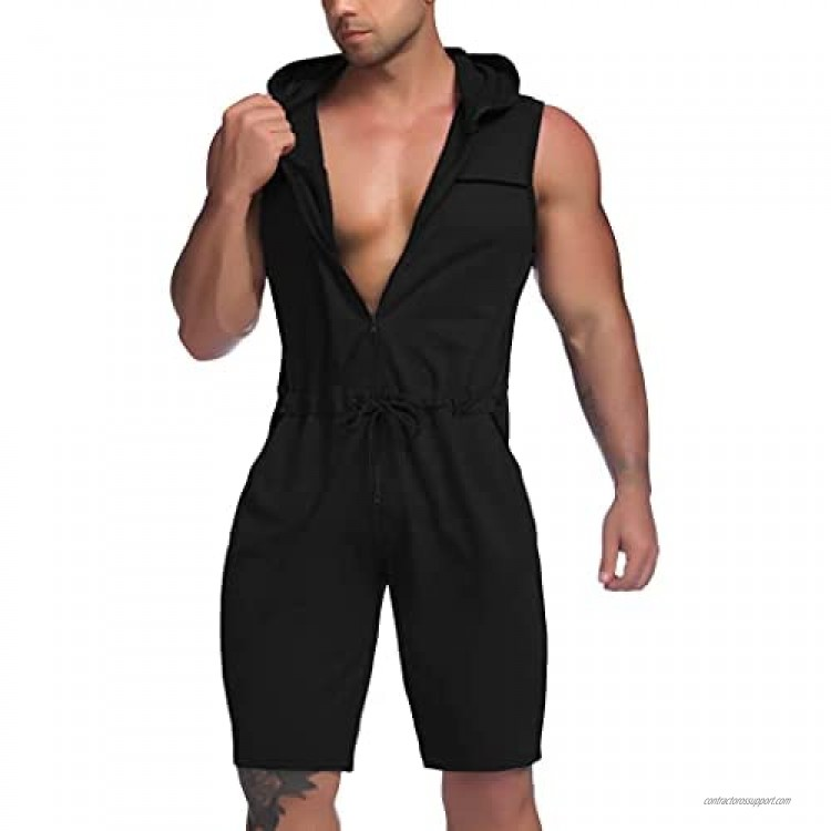 COOFANDY Mens Jumpsuits One Piece Shorts Casual Fashion Comfy Sleeveless Slim Fit Hooded Zipper Rompers Bodysuit with Pockets
