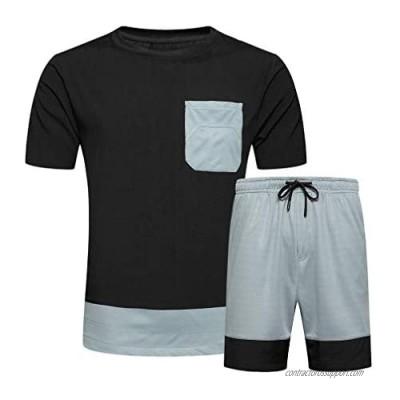 DOINLINE Men's Tracksuit 2 Piece Outfit Summer Short Sleeve T-Shirt and Shorts Set Casual Sports Jogging Suit