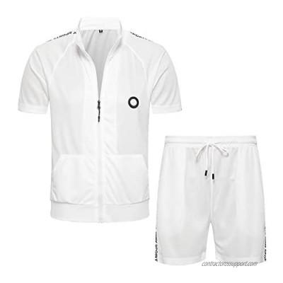 MANTORS Men's 2 Piece Tracksuit Set Full Zip Athletic Sweatsuit Outfit Jogger Sport Short Sets