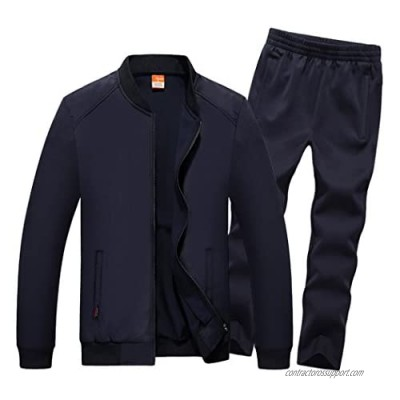 Real Spark Men's Athletic Full Zip Runnning Tracksuit Set Casual Jogging Sports Sweat Suit