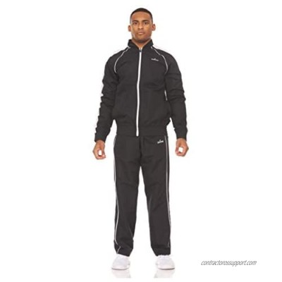 Spalding Mens Performance Woven Tracksuit Set - 2 Piece Set with Full Zip Jacket and Pants  Gravel/Concrete