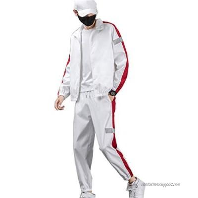 Tebreux Men's Jogger Tracksuit 2 Piece Athletic Sweatsuits Full Zip Running Jogging Sports Suits