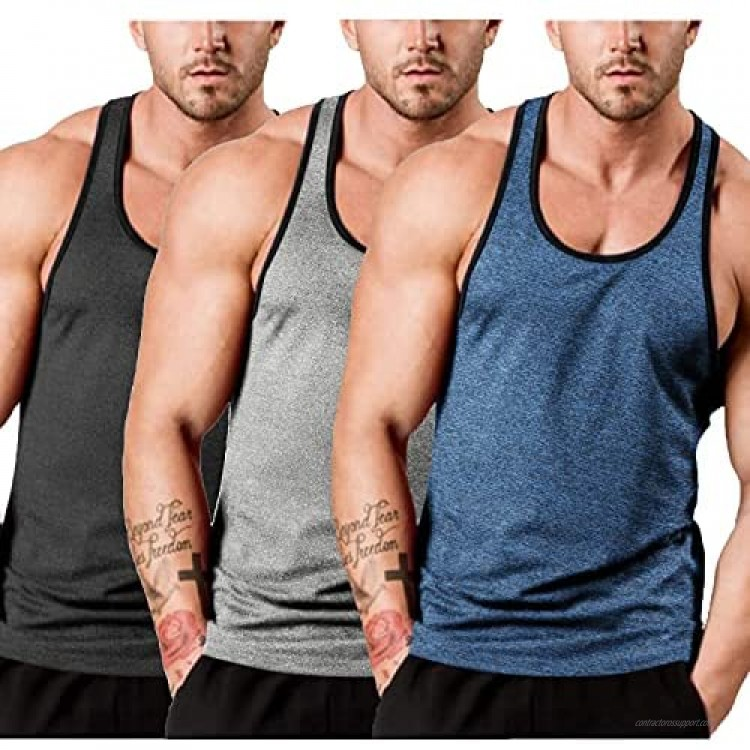 COOFANDY Men's 3 Pack Gym Tank Tops Y-Back Workout Muscle Tee Sleeveless Fitness Bodybuilding T Shirts