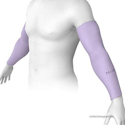 N-rit Compression Cooling Arm Sleeves for Men and Women  UV Sun Protection  Ideal for All Sports and Activities. Made in Korea [Violet]