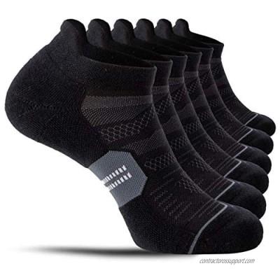 CelerSport 6 Pack Men's Running Ankle Socks with Cushion  Low Cut Athletic Tab Socks
