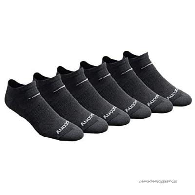 Saucony Men's Multi-Pack Mesh Ventilating Comfort Fit Performance No-Show Socks  Charcoal Heather (6 Pairs)  Shoe Size: 8-12