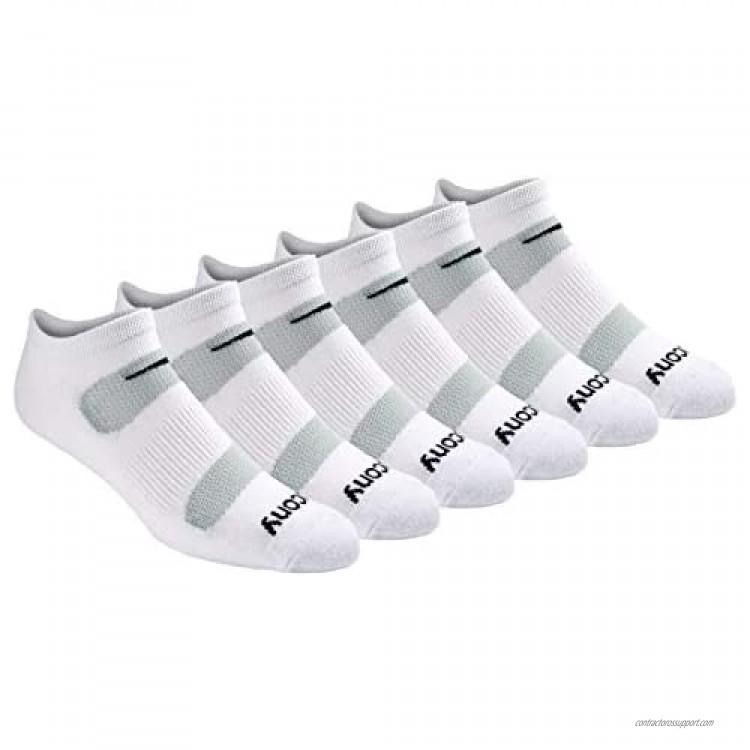 Saucony Men's Multi-Pack Mesh Ventilating Comfort Fit Performance No-Show Socks White (6 Pairs) Shoe Size: 13-15