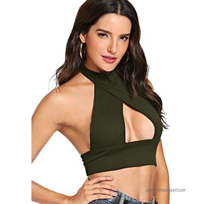 SheIn Women's Sexy Cut Out Halter Knit Ribbed Backless Crop Tank Top