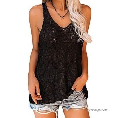 Ybenlow Womens Summer Knit Racerback Tank Tops V Neck Sleeveless Sweater Casual Sheer Vest Shirt Blouses
