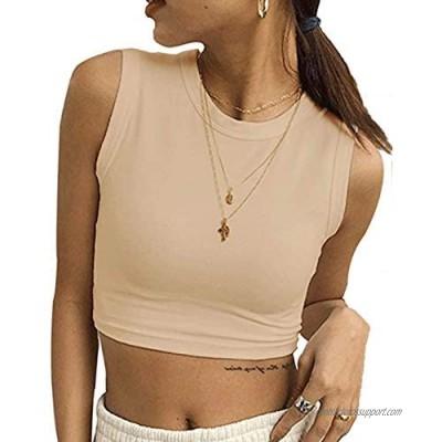 MISSACTIVER Women Round Neck Crop Top Basic Solid Sleeveless Crop Tank Vest Top