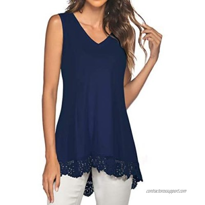 MUMUBREAL Women's Tunic Tops Summer Sleeveless V-Neck Lace Trim Tank Top Blouses