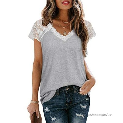 OUGES Women's Sexy V-Neck Lace Tank Tops Casual Sleeveless Blouse Shirts