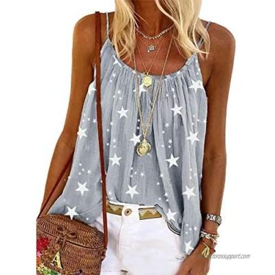 Sidefeel Womens Sleeveless Shirt Blouse Scoop Neck Spaghetti Strap Cami Tank Top
