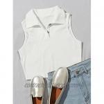 SOFIA'S CHOICE Women's Ribbed Knit Crop Top Turn-Down Collar Halter Cami Shirt