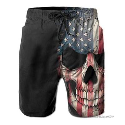 American Flag Patriot Skull Men's Summer Swim Trunks Quick Dry Board Shorts with Mesh Lining