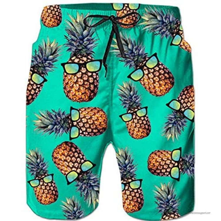 Loveternal Casual Mens Swim Trunks Quick Dry Printed Beach Shorts Summer Boardshorts with Mesh Lining