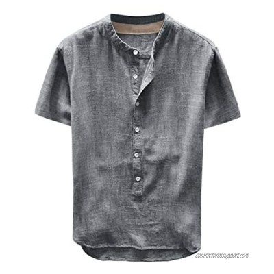 DIOMOR Mens Casual Long/Short Sleeve Linen Shirt Fashion Gradient Color Tees Beach Tops Henley Neck Button Up Shirts