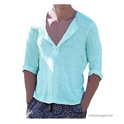 haoricu Mens Linen Henley Shirt 3/4 Sleeve T Shirt Tees V Neck Curved Hem Cotton Shirts Beach Tops