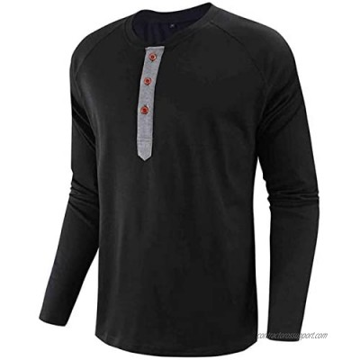 Mens Long Sleeve Shirts Casual Henley Button T-Shirt Cotton Solid Color Tops