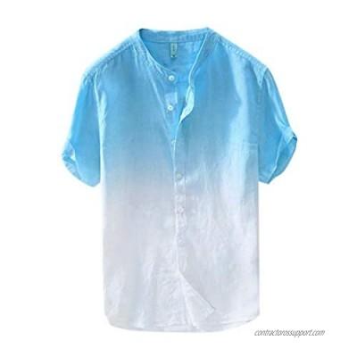Men's Summer Shirts Fashion Hippie Short Sleeve Button Down Shirts Casual Loose Gradient Color Print Beach Tops