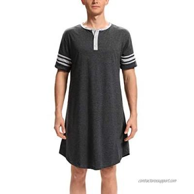 Kyonuza Men's Nightshirt Cotton Sleep Shirt Big&Tall Nightwear Short Sleeve Henley Loose Nightgown Sleepwear with Pockets