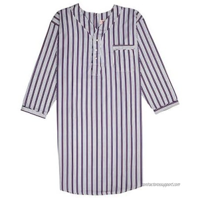 Men's Nightshirt Gown Back Snap Long Sleeve Light Weight Cotton Poly Size M/3XL