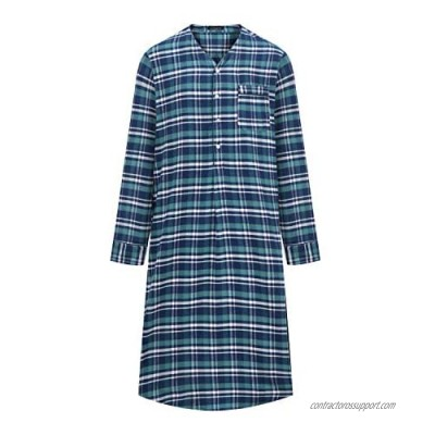Noble Mount Mens Nightshirt - 100% Cotton Flannel Mens Nightshirts for Sleeping