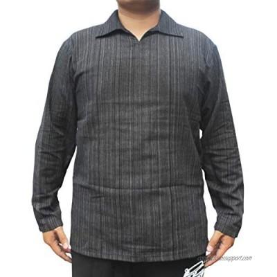 RaanPahMuang Light Striped Cotton Long Sleeve Large Poets Collar Shirt Plus Size