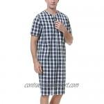 Sykooria Men's Nightgown Short Sleeve Henley Kaftan Knee Length Sleep Shirt Comfy Plaid Nightshirt with Pocket