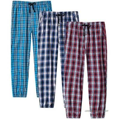 JINSHI Men's Pajama Pants Plaid Sleapwear Pants Loungewear Bottom Button Fly/Drawstring/Pockets 3-Pack