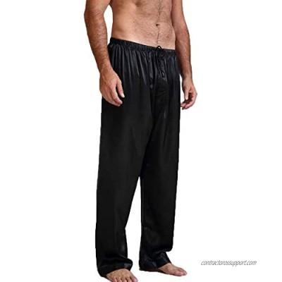 Men's Satin Pajama Pants Sleep Soft Long Classic Pajama Bottoms Solid Lounging Pants