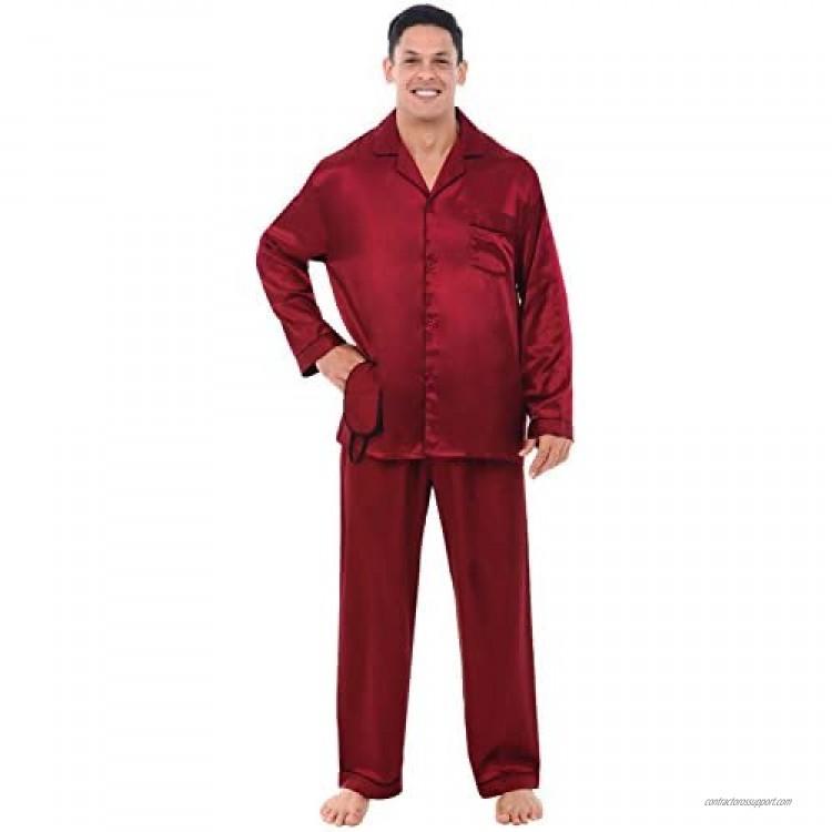 Alexander Del Rossa Men's Button Down Satin Pajama Set with Sleep Mask Long Silky Pjs