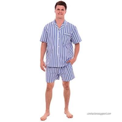 Alexander Del Rossa Mens Woven Cotton Pajama Set  Button-Down Shorts Pjs  3X Dark Blue and White Striped (A0697P193X)