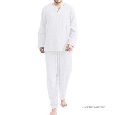 COOFANDY Men's 2 Pieces Cotton Linen Hippie T Shirt and Pants Casual Long Sleeve V-Neck Beach Trousers Yoga Top