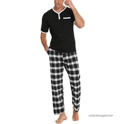 Daupanzees Men's Cotton Plaid Sleepwear Short Sleeve Top & Bottom Pajama Set