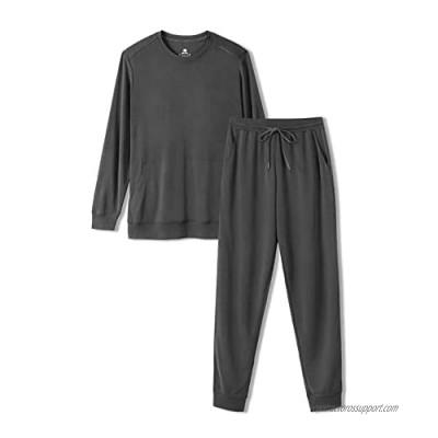 DAVID ARCHY Men's Sleepwear PJs Top and Bottom Long Pajama Set