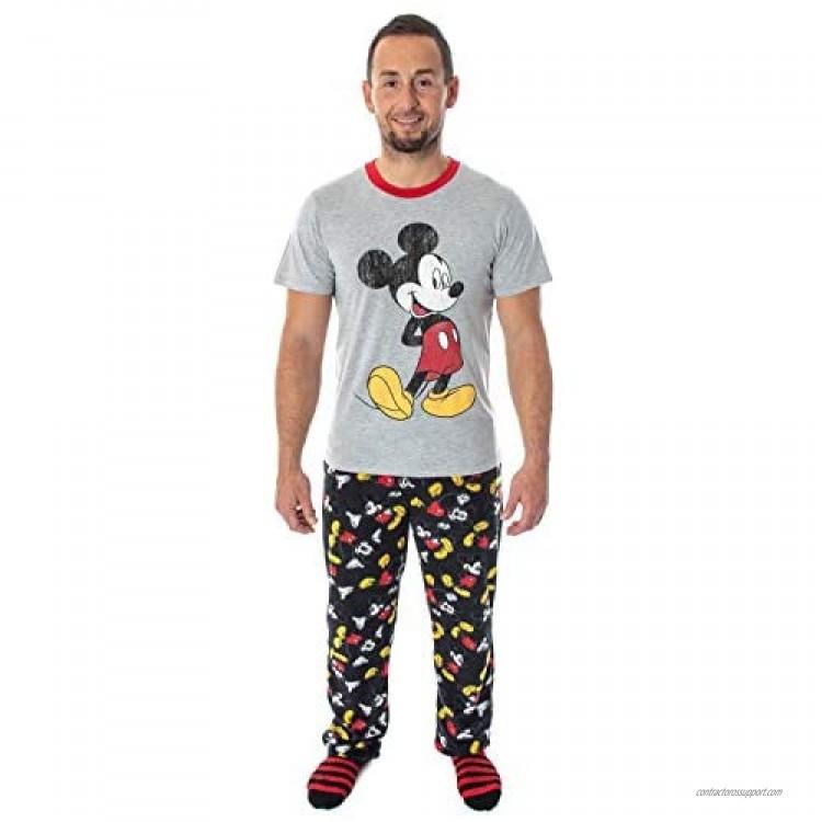 Disney Mickey Mouse Men's 3 Piece Pajama Set - Fleece Pajama Pants Shirt And Cozy Socks