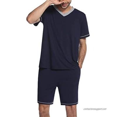 Ekouaer Mens Pajama Set Short Sleeve V Neck 2 Piece Pajama Set Summer Short Sleeves Sleepwear PJS for Men