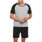 Ekouaer Men's Sleepwear Short Sleeve Pajamas Set Raglan Top and Shorts Soft Lounge Set